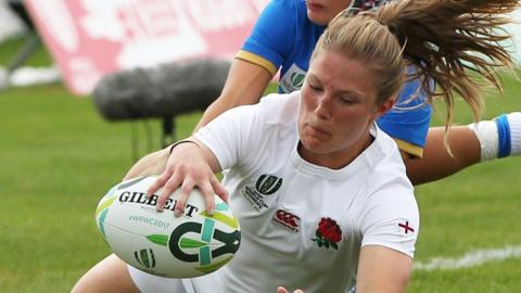 Fit again England winger Lydia Thompson scores against Italy