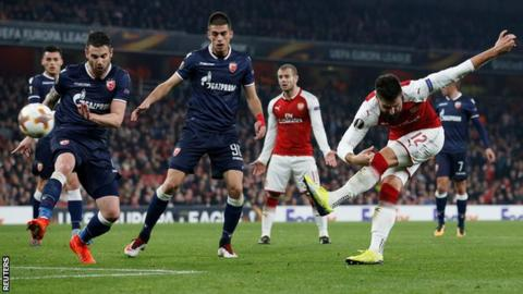 Draw sends Arsenal into Europa League last 32