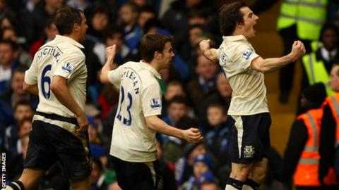 Leighton Baines celebrates scoring for Everton against Chelsea in the FA Cup in 2011