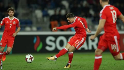 Tom Lawrence scores for Wales against Georgia