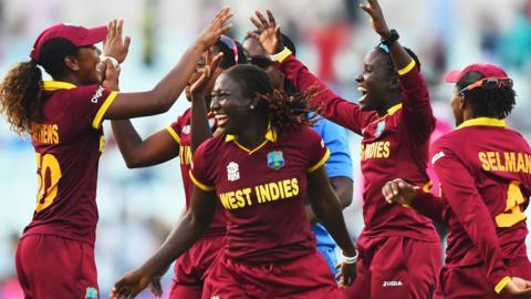 West Indies women celebrate victory over Australia in Kolkata