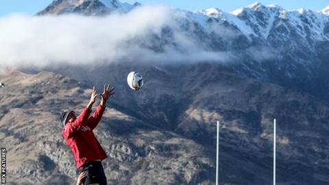 Sam Warburton claims a line-out under the mountains of Queenstown