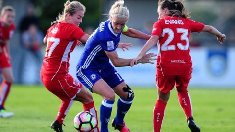 Georgia Evans and Lily Agg of Bristol City Women tackle Katie Chapman of Chelsea Ladies