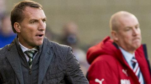Celtic manager Brendan Rodgers and Rangers counterpart Mark Warburton watch Sunday's League Cup semi-final