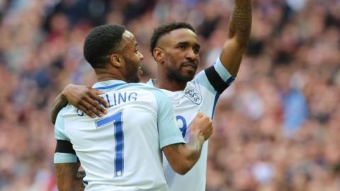 England's Jermaine Defoe and Raheem Sterling