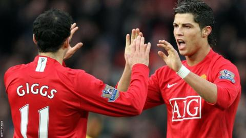 Cristiano Ronaldo fête avec Ryan Giggs