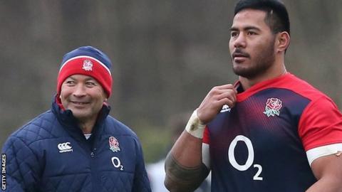England's Manu Tuilagi and coach Eddie Jones