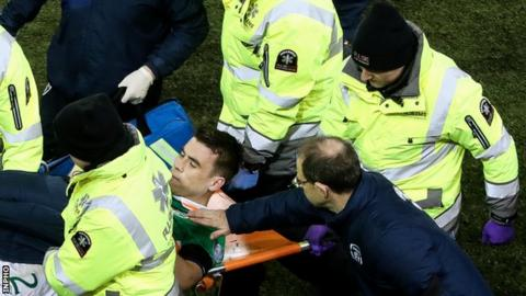 Martin O'Neill consoles Seamus Coleman as he is stretchered off the field in Friday's game