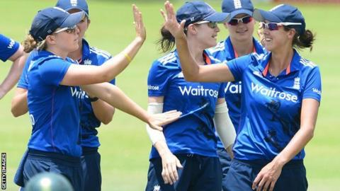 England women celebrate a wicket