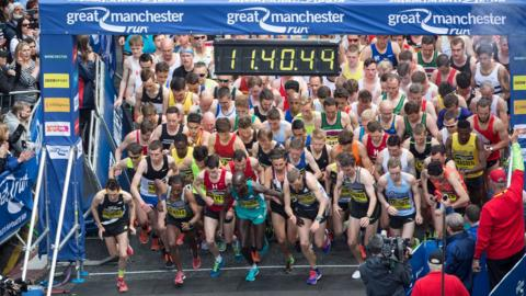 Runners at the start line of the Great Manchester Run