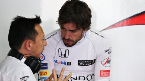 Honda boss Yusuke Hasegawa (left, with Fernando Alonso)