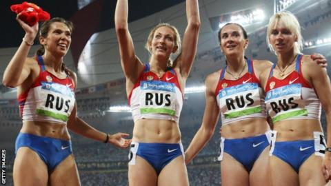 Kapachinskaya (left) formed part of the 4x400m team which has been stripped of a 2008 Olympic medal