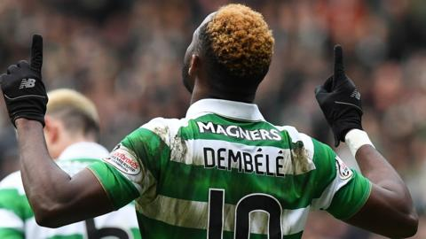 Moussa Dembele celebrates for Celtic