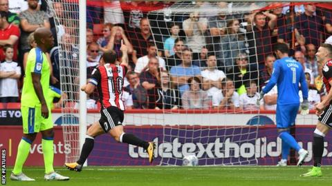 Billy Sharp celebrates his goal against Derby
