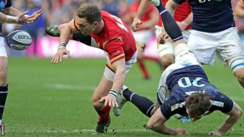George North loses possession at Murrayfield on 25 February