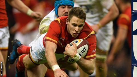 Liam Williams scores for Wales against England in the 2017 Six Nations championship