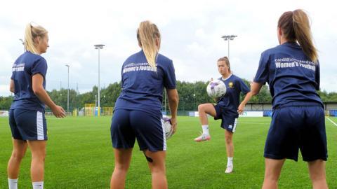 Cardiff Met players training