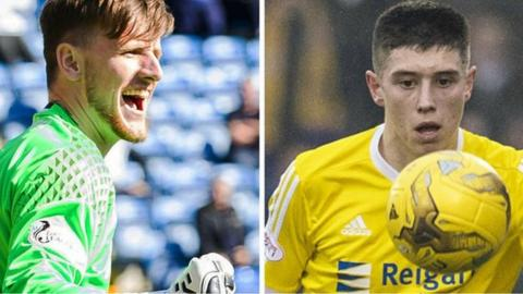 Goalkeeper Ross Stewart and forward Ross Stewart in action for Albion Rovers