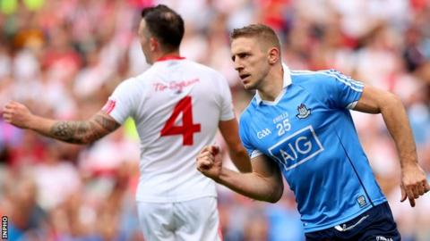 Eoghan O'Gara celebrates after palming in Dublin's late second goal
