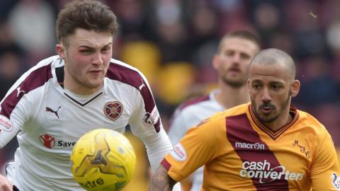 Hearts' John Souttar and Motherwell's Lionel Ainsworth
