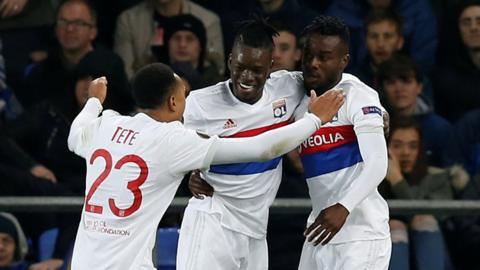 Bertrand Traore celebrates