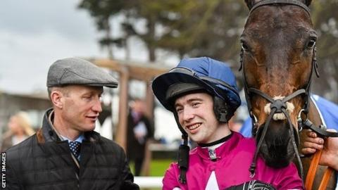 Trainer Colm Murphy and jockey Jonathan Moore after Empire of Dirt won at Leopardstown in January