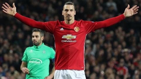Zlatan Ibrahimovic celebrates his hat trick