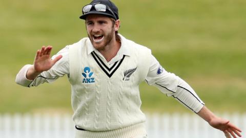 New Zealand captain Kane Williamson celebrates a wicket