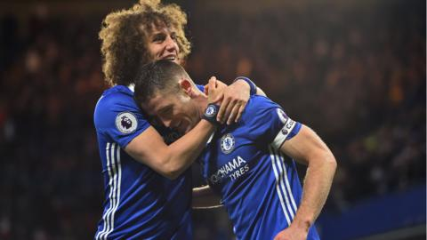 David Luiz and Gary Cahill celebrate