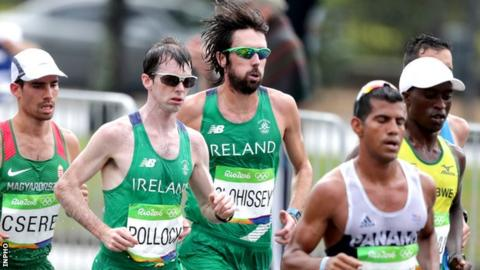 Paul Pollock and Mick Clohisey at last year's Olympic Games marathon in Rio