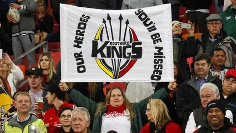 A Southern Kings fan says goodbye to the Southern Kings as they face the Cheetahs at Nelson Mandela Bay Stadium, Port Elizabeth, this month