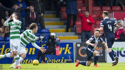 Alex Schalk wins a penalty for Ross County