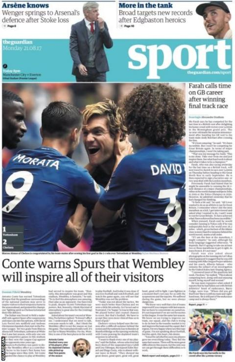 The Guardian sport pages on Monday