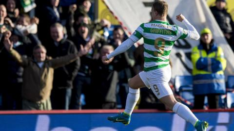 Celtic striker Leigh Griffiths celebrates