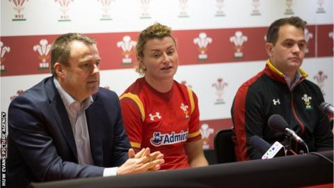 WRU chief executive Martyn Phillips, Wales Women captain Rachel Taylor, and Wales Women head coach Rhys Edwards