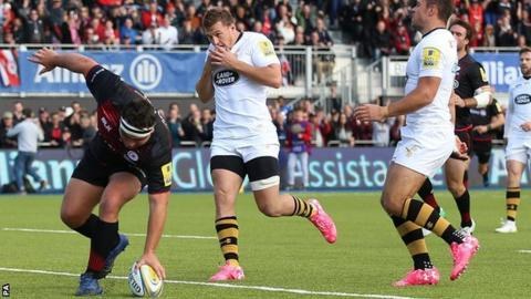 George hat-trick sends Saracens top
