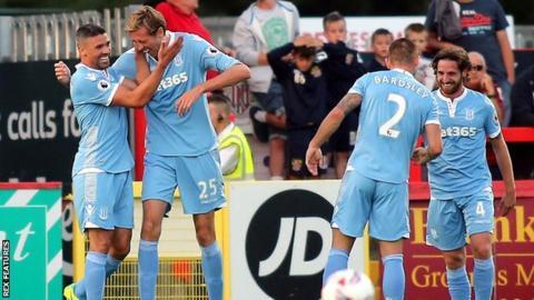 Stoke players celebrate goal