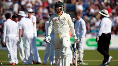 Michael Clarke walks off after being dismissed by Moeen Ali