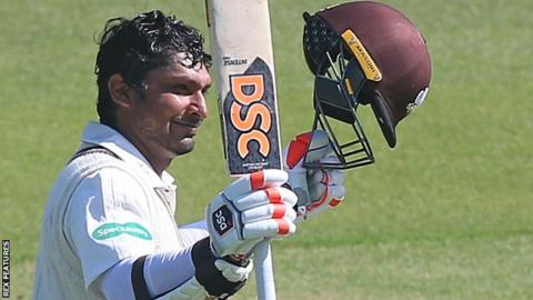 Kumar Sangakkara reaches his century for Surrey against Essex