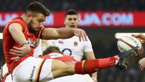 Rhys Webb clears Wales' lines during the Six Nations match against England in 2017