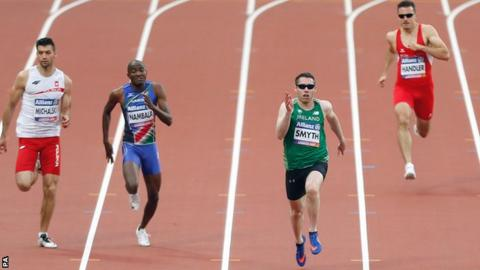 Jason Smyth races clear in the T13 200m final on Tuesday night