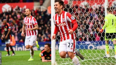 Stoke City's Bojan Krkic celebrates scoring against Manchester United