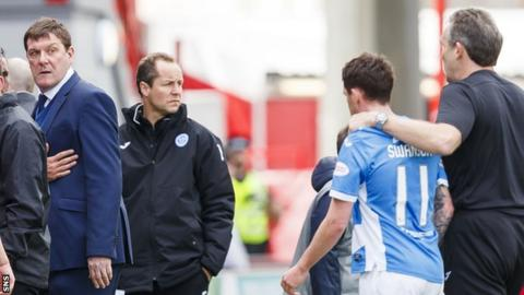 St Johnstone manager Tommy Wright stares down Danny Swanson at half-time