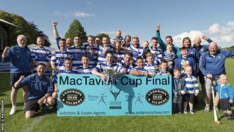 Newtonmore celebrate retaining the MacTavish Cup
