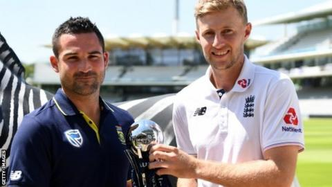 South Africa stand-in captain Dean Elgar and England captain Joe Root