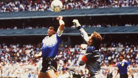 Diego Maradona and Peter Shilton