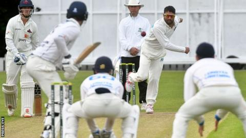 Leinster Lightning's Simmi Singh bowls at Stormont