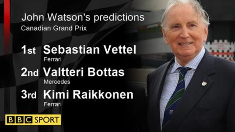 John Watson's race predictions: 1st Vettel; 2nd Bottas; 3rd Raikkonen