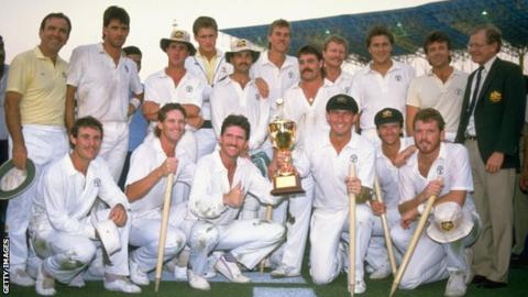 Australia captain Allan Border holding the trophy after his side beat England in the 1987 World Cup final
