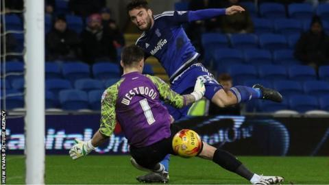 Tony Watt scores for Cardiff against Brentford